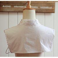 New Women's Fake Half Shirt Blouse Collar PeterPan Detachable Collar Unisex Tie White