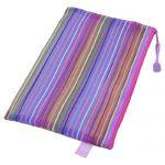 Zipper Closure Nylon Mesh Multicolor Stripes A5 Paper Documents Pen File Bag Folder