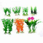 14 in 1 Green Magenta Artificial Fish Tank Aquatic Flowers Grass Plant Aquarium Decor