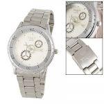 Men Silver Tone Gear Design Numberless Dial Wrist Watch