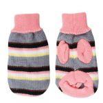 Pet Dog Pink Gray Stripe Pattern Turtleneck Knitting Sweater XXS