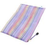 A4 Striped Pattern Sheer Zipper Stationery Paper File Bag - Purple