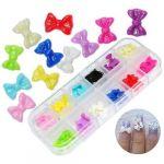 60 Pcs 12 Mix Colors Acrylic 3D Rhinstone Nail Art Glitter Bows / Bowknot Design With Storage Case