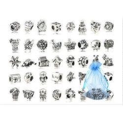 40 Pc Antique Silver Plated Oxidized Metal Beads Charms Set Mix Lot - Compatible with Pandora Biagi Troll Chamilia Bracelets