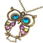 Vintage Jewellery - Vintage Jewelled Enchanted Owl Necklace