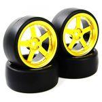 NEW 4Pcs Rubber Drift Tires Wheel Rim For HSP HPI RC 1:10 On Road Car PP0477+D5G