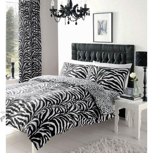 ZEBRA ANIMAL SKIN PRINTED REVERSIBLE DOUBLE BED DUVET QUILT COVER BEDDING SET