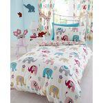 NELLIE JUMBO ELEPHANT FLOWER REVERSIBLE DOUBLE BED DUVET COVER QUILT BEDDING SET