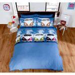 Just Contempo Double Cotton Blend VW Camper Van Duvet Quilt Cover - Boys Navy Blue Bedding Set + Pillow Case, Multi-colour