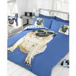 Percy Pug Blue Single Duvet Cover & Pillowcase Set