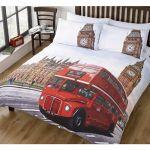 London Bus King Size Duvet Quilt Cover & 2 Pillowcase Bedding Set Vintage Design