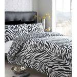BLACK & WHITE ZEBRA PRINT WITH LEOPARD REVERSE - KING SIZE DUVET QUILT COVER BED SET
