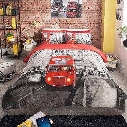 [hachette] 3PC LONDON BUS (RED BLACK) DOUBLE SIZE BEDDING BED DUVET COVER QUILT SET WITH PILLOWCASES