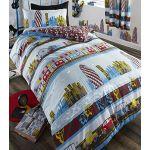 INNER CITY KIDS BOYS REVERSIBLE SINGLE BED DUVET COVER QUILT BEDDING SET - BLUE