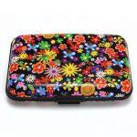 Color Metal Aluminum Business ID Credit Card Case Wallet Holder Box Purse Pocket - Colorful flowers