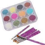 12 color nail art sparkle glitter powder dust tips decoration and 7pcs acrylic painting brush set