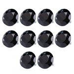 10pcs Diamond Shape Crystal Glass Drawer Cabinet Pull Handle Knob (Black)