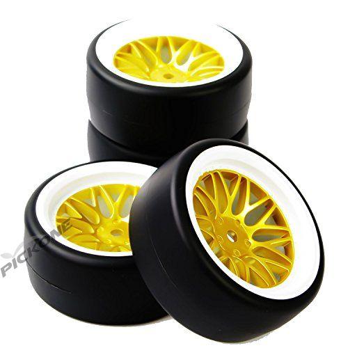 TOP Drift Tires Wheel Rim 12mm hex For RC 1:10 On Road Car PP0477+BBNWG 4pc