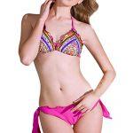 Zhuonizi Hottie Halter Neck Bikini Set Push Up Padding Triangle Top and Ruffle Bottom Rose