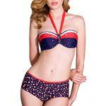 Zhuonizi Women's Bandeau Bikini Sets Halter Neck Swimwear Underwire Push Up Padding Beachwear