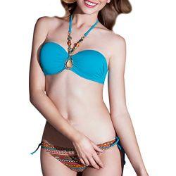 Zhuonizi Women's Bandeau Bikini Set Halter Neck Swimwear