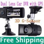 X3000 2.7 140° Dual Lens dashboard camera car dvr black box video recorder + gps logger