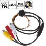 6mm Lens 600TVL HD 1280 x 960P 1/3 Inch CMOS Sensor Night Vision Covert Hidden Pinhole Spy Mini Video Camera with 8 IR Lights 200 Mega Pixel for Indoor Surveillance TV Standard