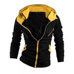 Allegra K Men Casual Kangaroo Pocket Contrast Color Hooded Jacket Black Yellow S