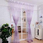 1PCS Floral Sheer Tulle Voile Door Curtain Window Room Drape Panel Scarf Valance (Purple)