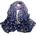 1PC Fashion Women Dot Long Soft Wrap Lady Shawl Silk Chiffon Scarf (Navy)