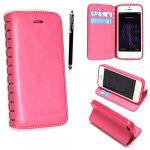 Apple iPhone 5 5S Premium Cutting Edge Pink Slim Book Flip Leather Wallet Case Cover + Stylus