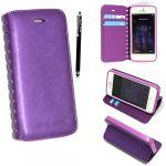 Apple iPhone 5 5S Premium Cutting Edge Purple Slim Book Flip Leather Wallet Case Cover + Stylus