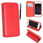Apple iPhone 5 5S Premium Cutting Edge Red Slim Book Flip Leather Wallet Case Cover + Stylus