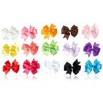 15pc 3 Boutique Hair Bows Girls Kids Alligator Clip Grosgrain Ribbon Headbands 15 Color