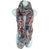 UK Flag Print Scarf Union Jack Womens London Fashion Denim Blue