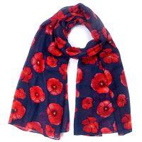 Ladies Poppy Flower Print Fashion Scarf (Navy)