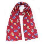 Ladies Multi Scottie Dog tartan Jacket Print Fashion Scarf Neck Wrap by Joy To Wear (Red)
