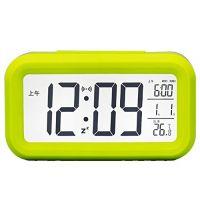 Digital lcd snooze alarm clock + sensor light + white led backlight green colour