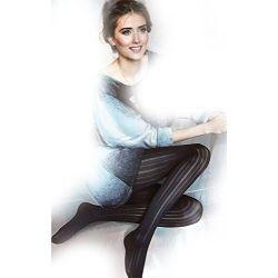 PIN STRIPE TIGHTS Black Vertical Line PATTERN Fashion Print MICROFIBRE Opaque 50 DENIER No Marked Pant Section - Trendy Party S M L Gatta Loretta 99